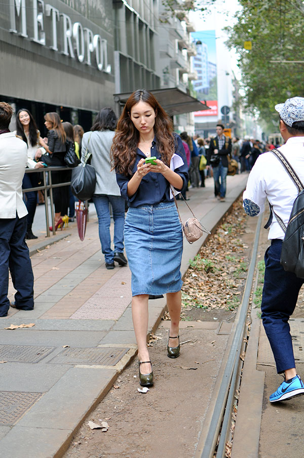 denim falda midi