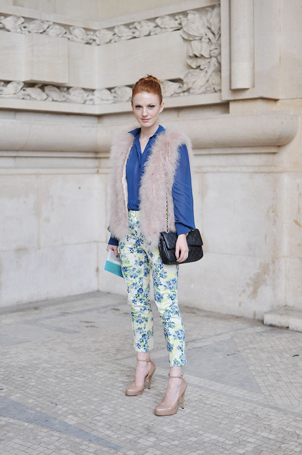 floral pants and fur vest