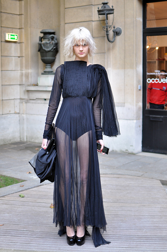 long sheer black dress