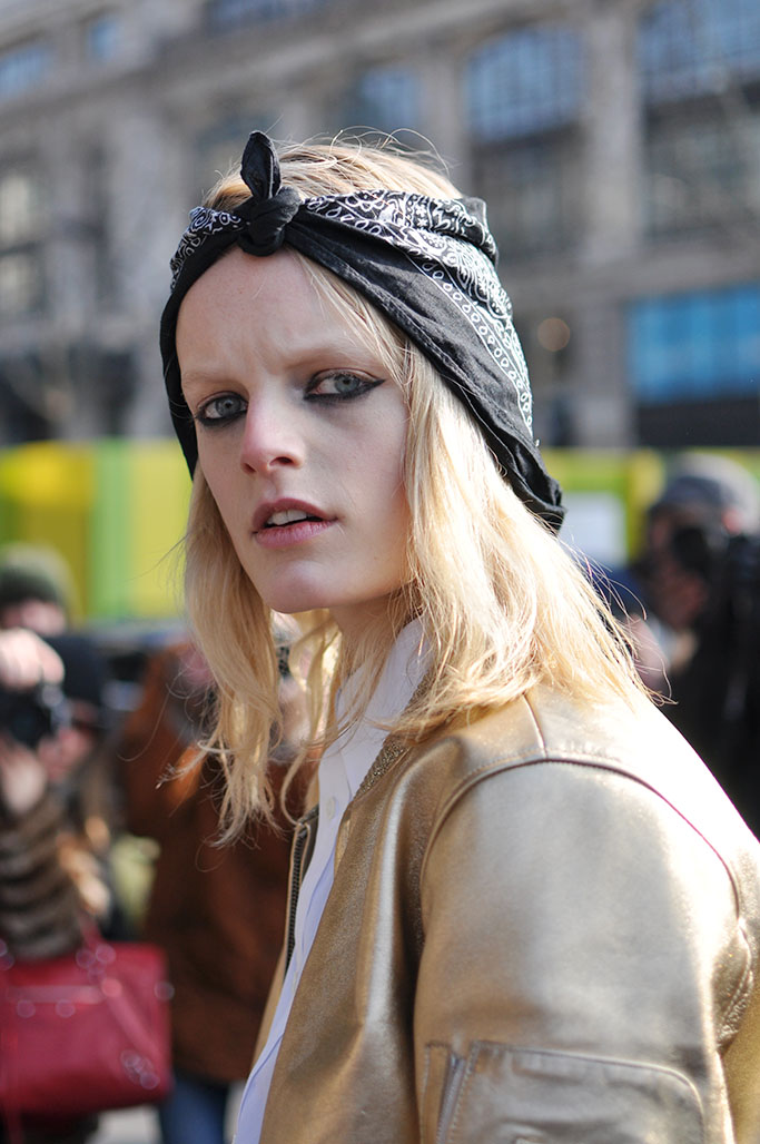 Hanne Gaby Odiele exiting Kenzo show