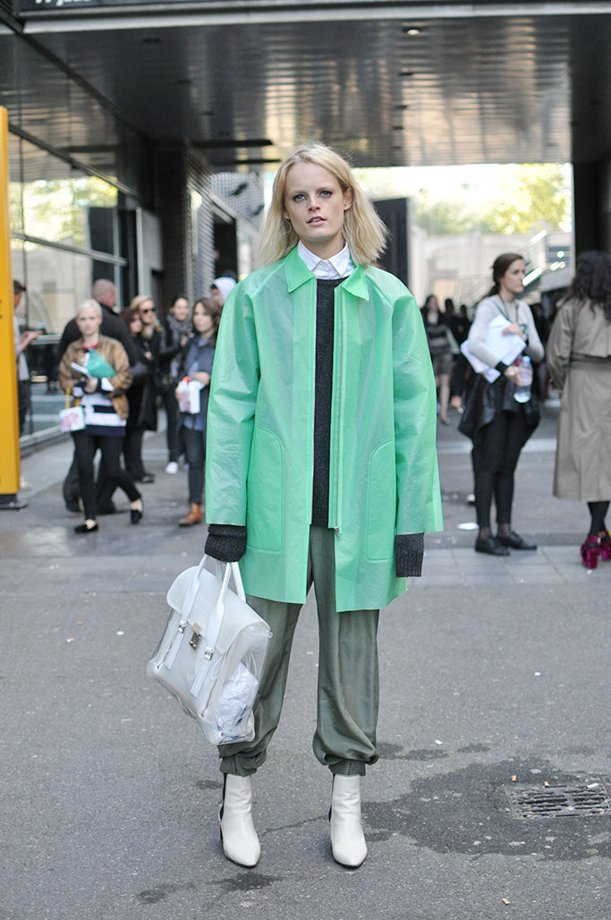 Hanne Gaby Odiele with green acne coat