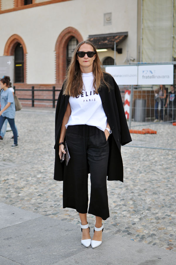 Maria with celine tshirt, milan