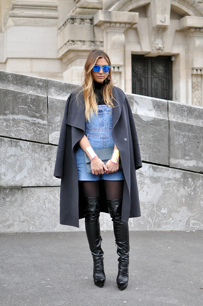 Denim dungaree and over the knee boots