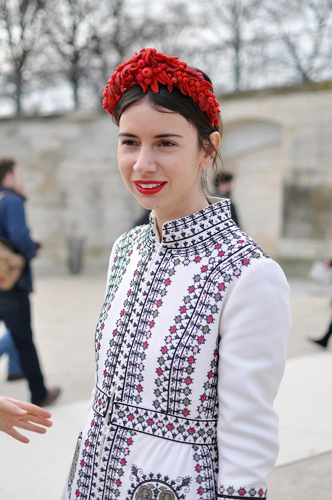 Natasha Goldenberg wit a Valentino coat