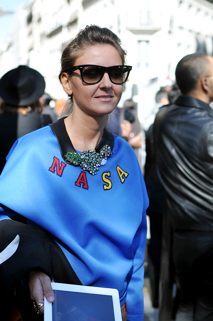 girl in blue Nasa sweater, paris