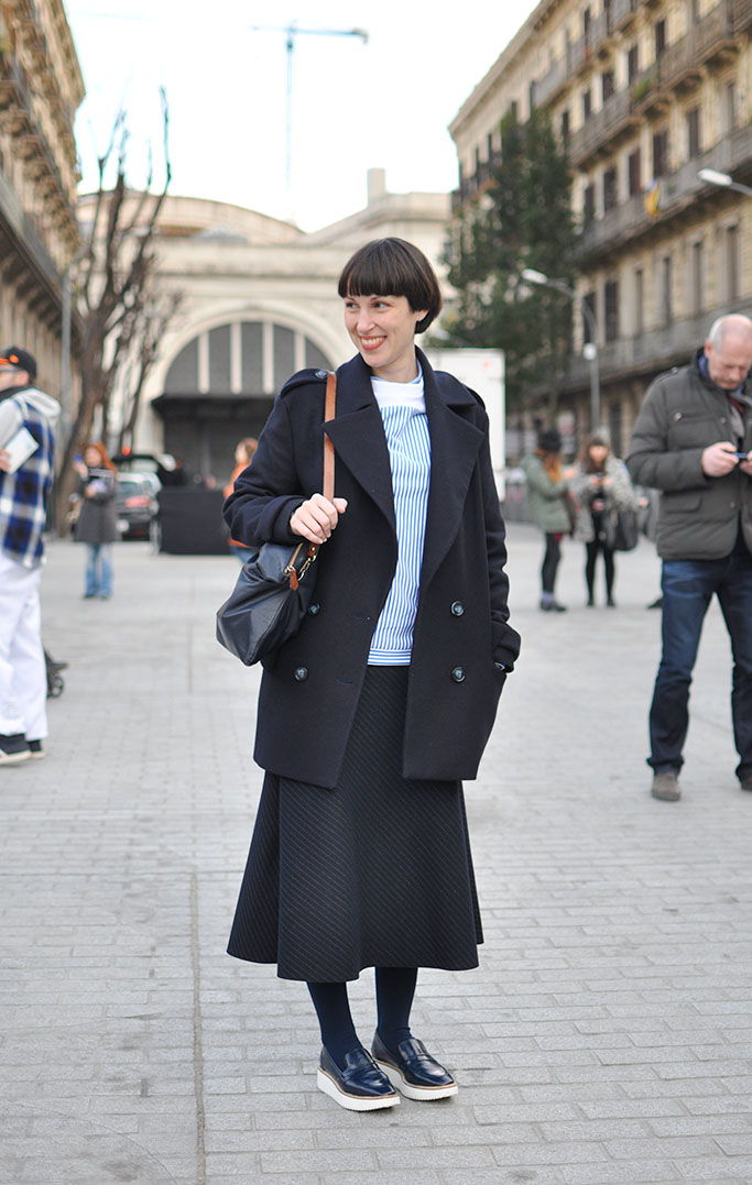Girl with midi skirt at 080 barcelona fashion