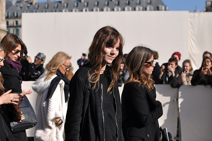 Model Freja Beha exiting Louis Vuitton