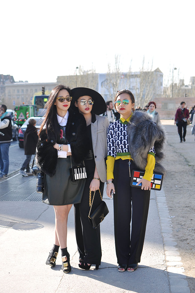girls street style after Louis Vuitton show