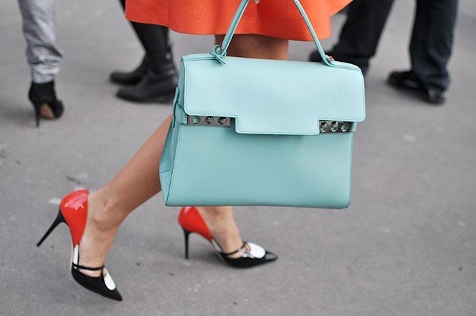 Natalie Joos, blue delvaux bag