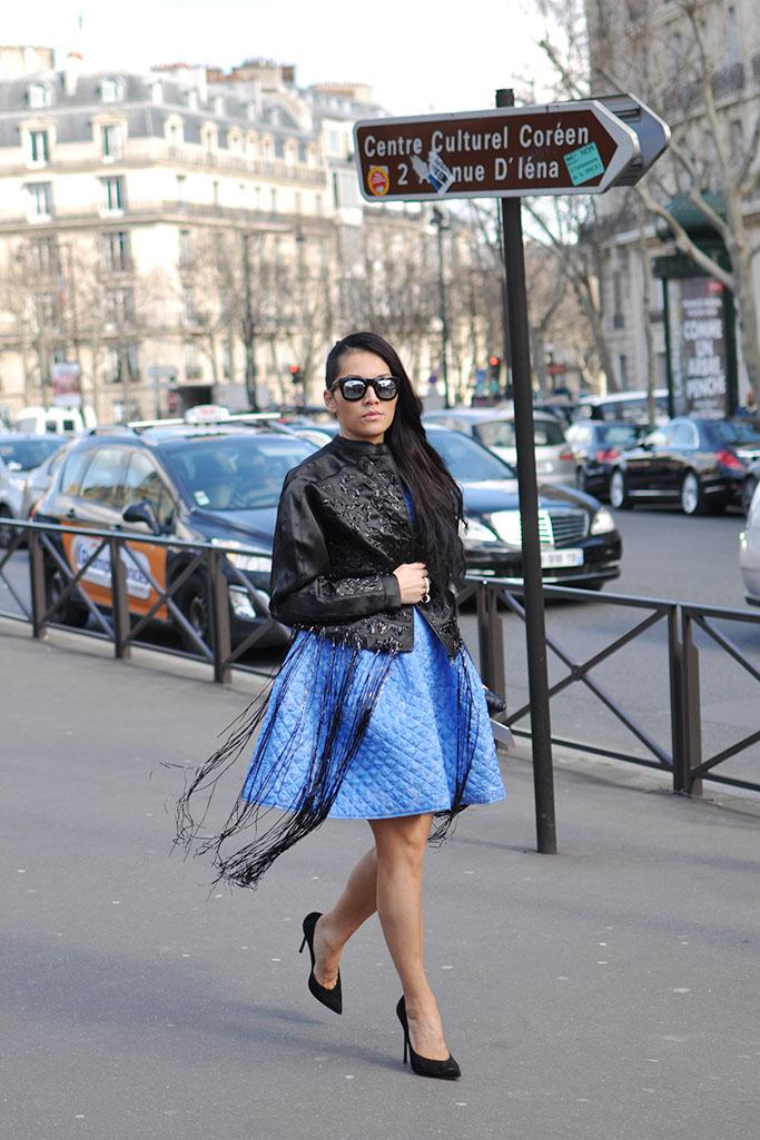 Tina Leung in blue