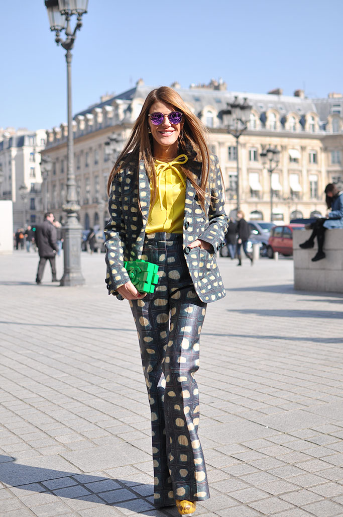Anna Dello Russo in Rochas with chanel lego bag