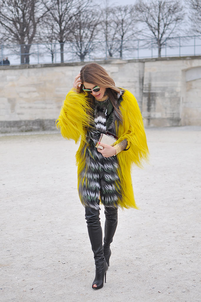 Anna Dello Russo in yellow Fendi fur