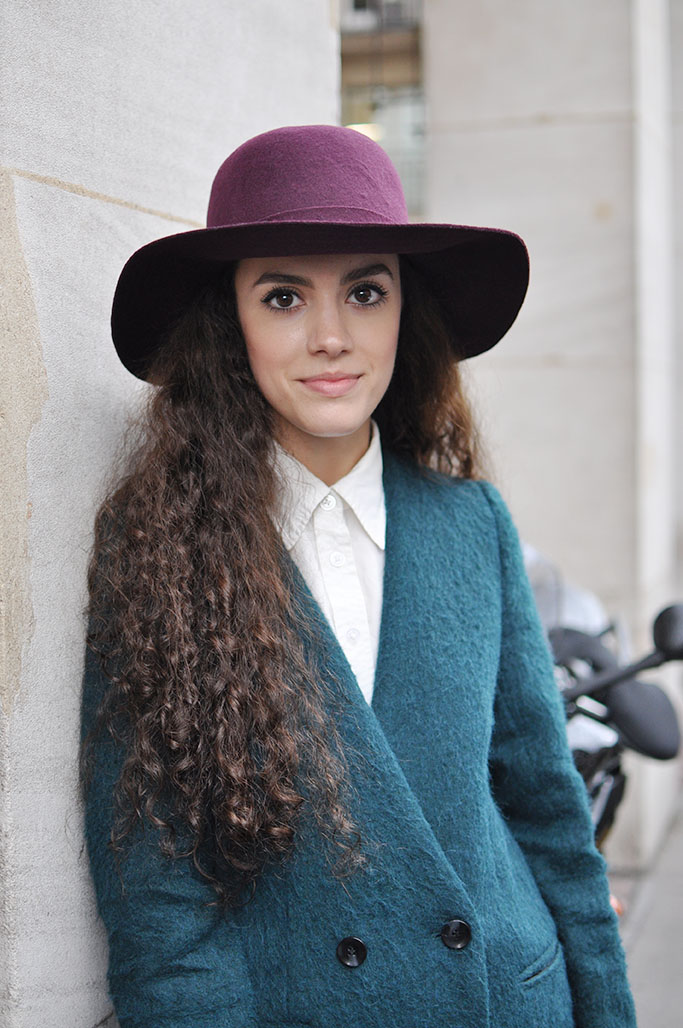 girl with green coat and hat, paris street style