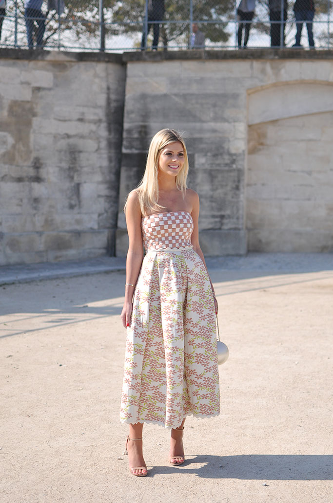 squares and flowers dress