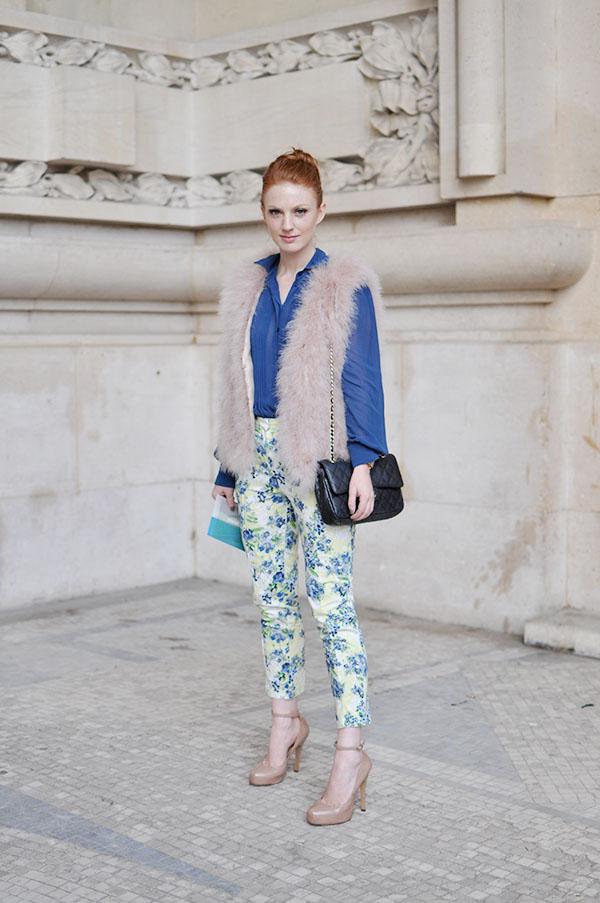 floral pants and fur vest
