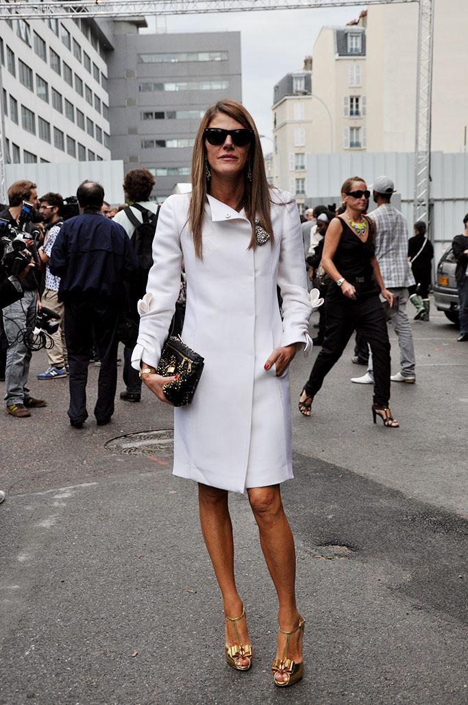 Anna Dello Russo Celine white coat