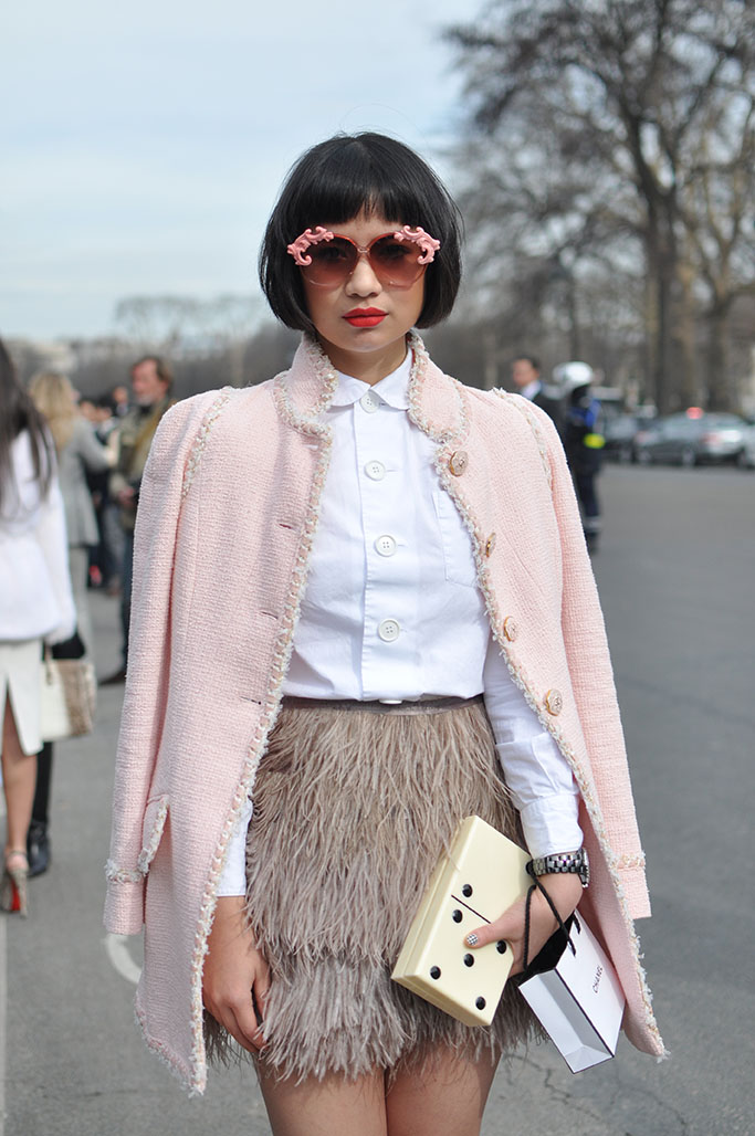 feather skirt pink coat