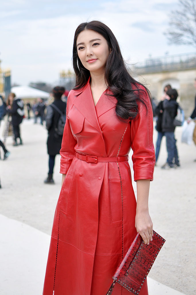 Red leather valentino coat