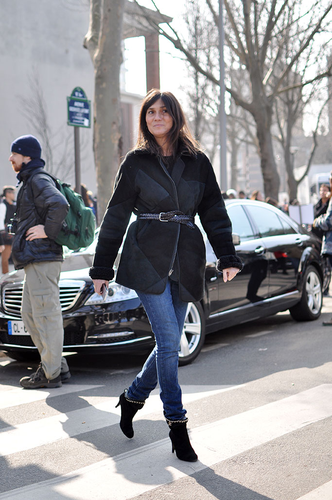 Emmanuelle Alt black coat