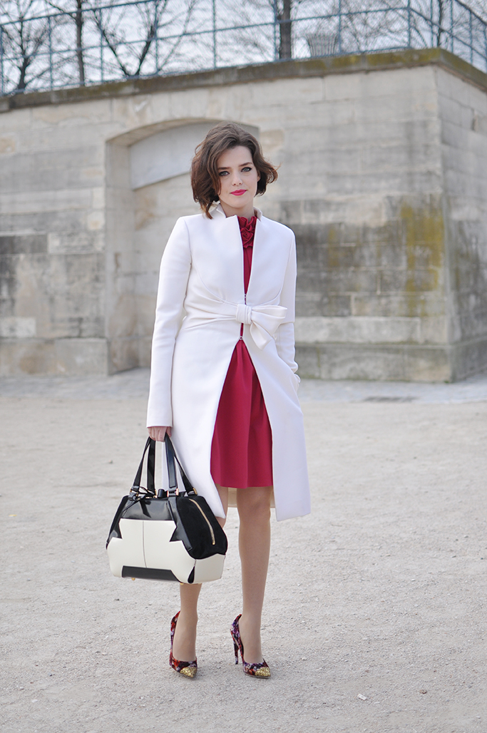 red dress white coat
