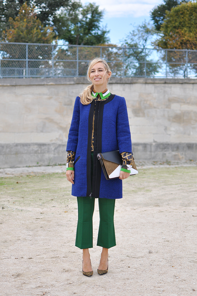 Alexandra Golovanoff blue coat, green pants