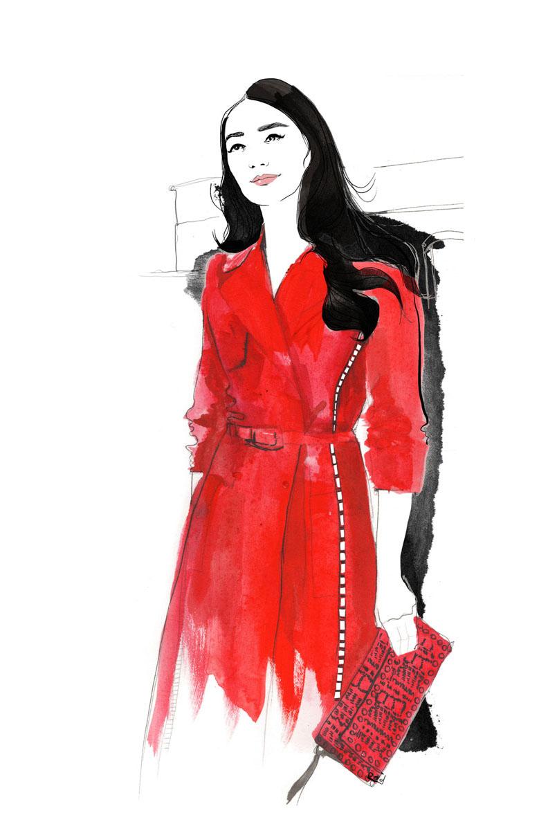 red valentino coat, illustration