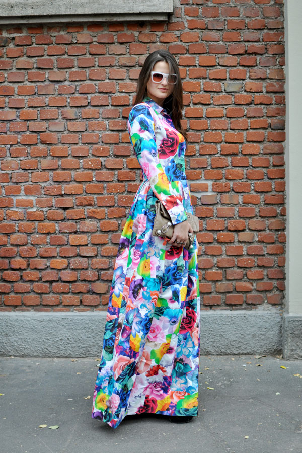 Benenci with jil sander floral dress