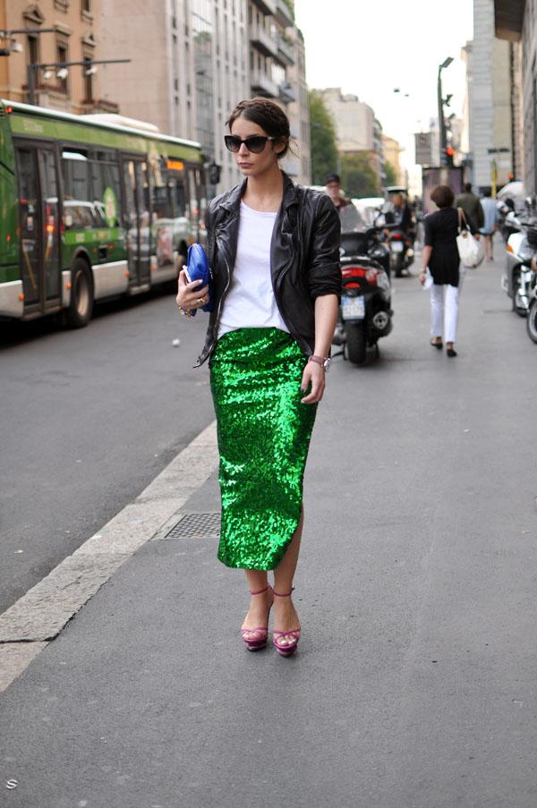 Green sequin skirt, milan