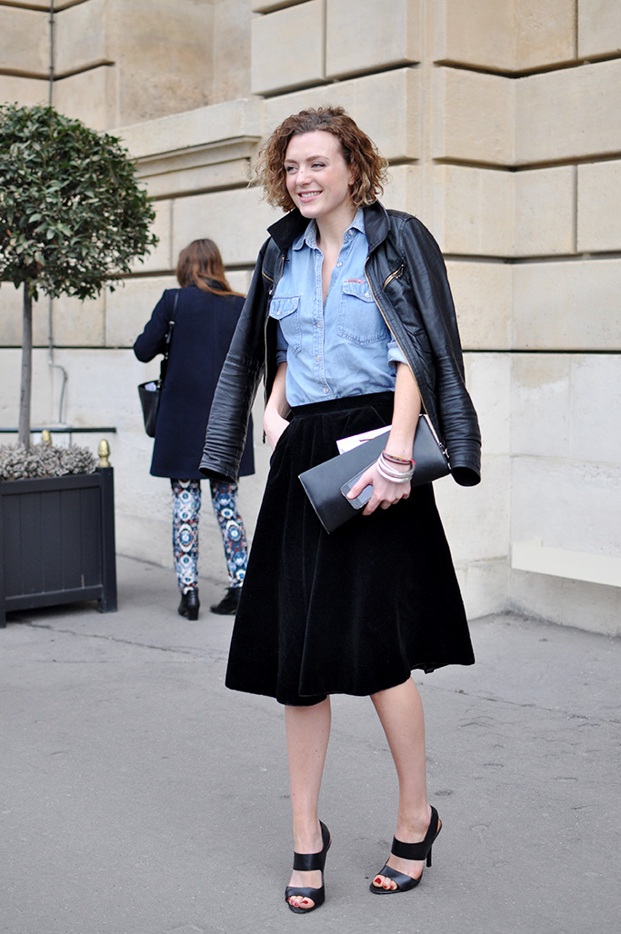 girl in denim shirt and velvet skirt
