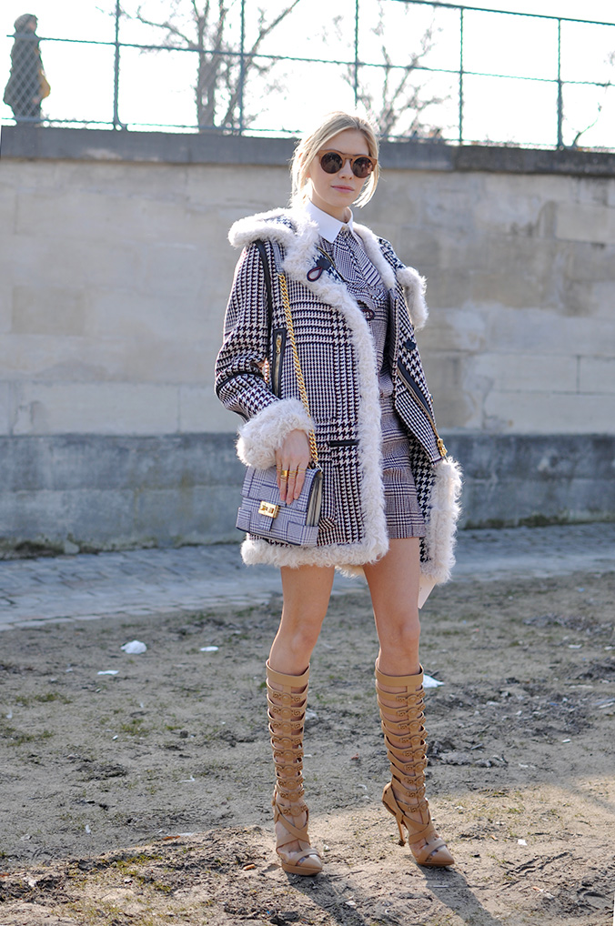 Elena Perminova wearing Tommy Hilfiger and Versace