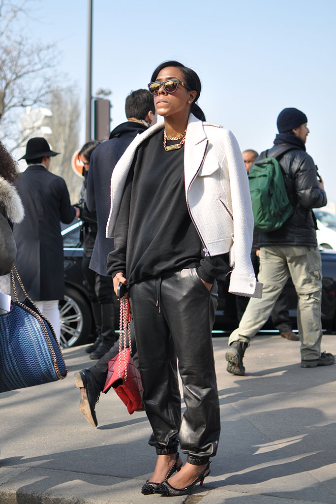 girl in black leather pants, paris