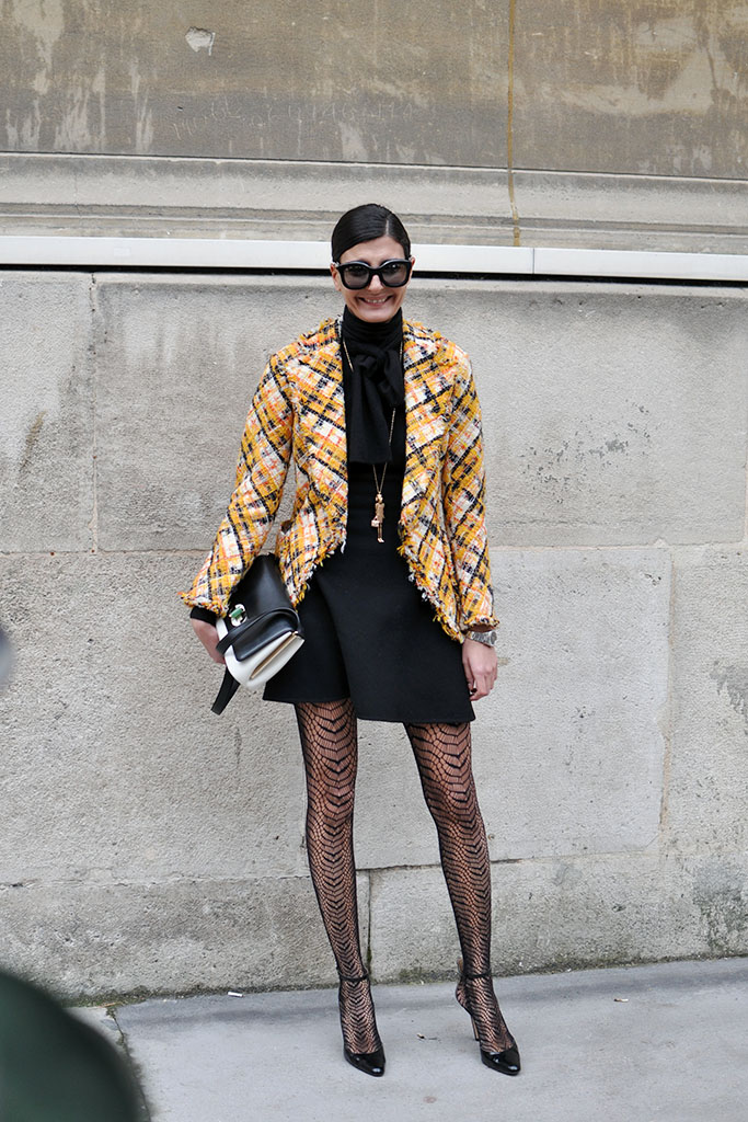 Giovanna battaglia yellow tweed jacket