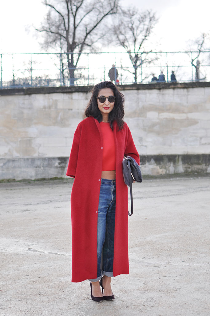 Nausheen Shah in red Paris Fashion week