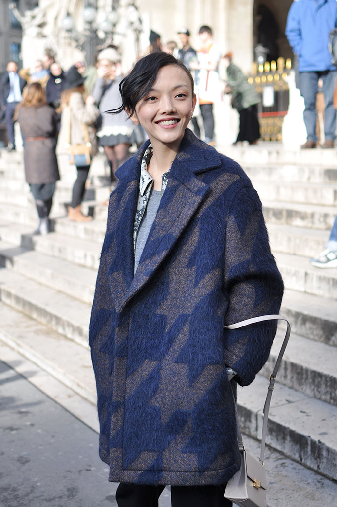 girl with oversized coat at stella mccartney