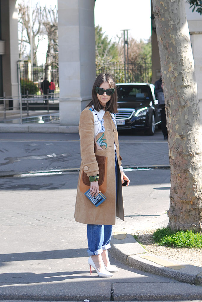 Natasha Goldenberg in miu miu coat