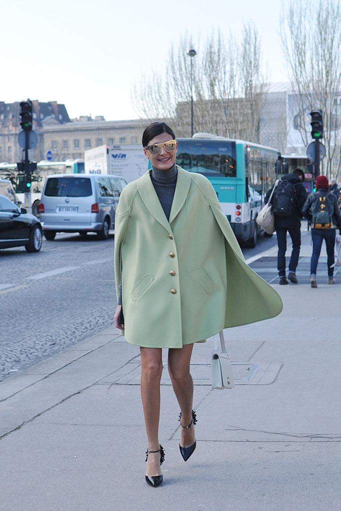 Giovanna Battaglia in a green cape