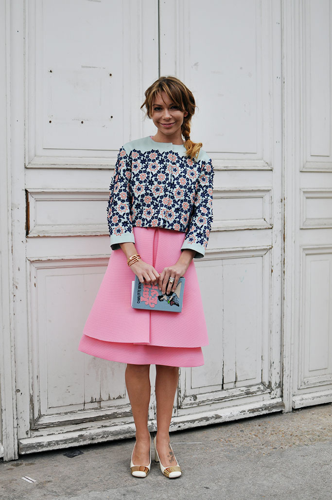Pink skirt, Olympia Le Tan bag