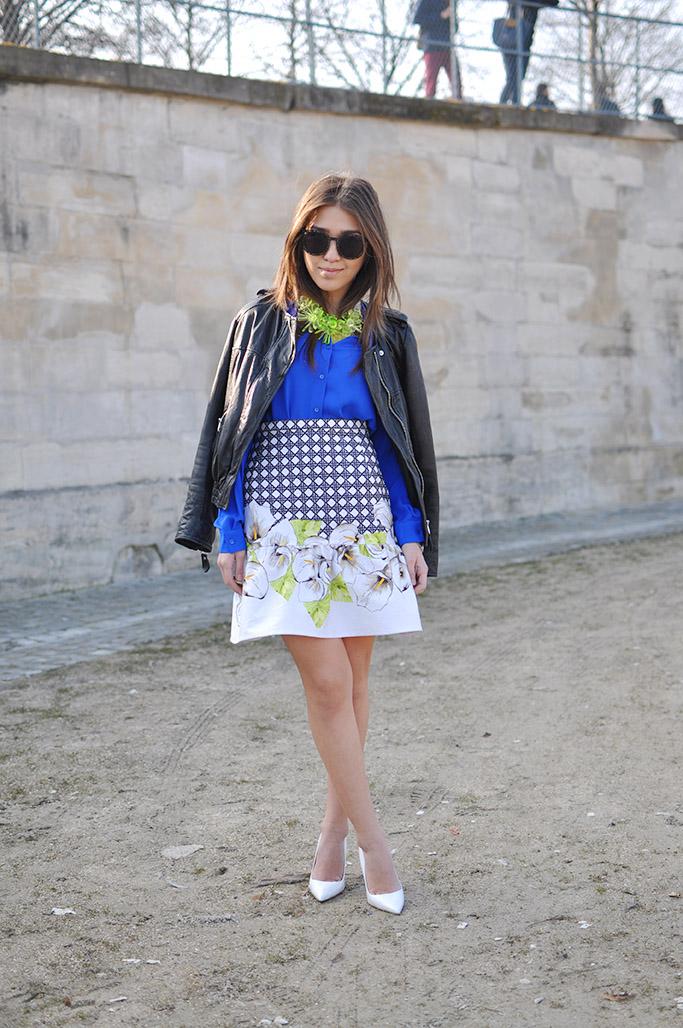 Blue shirt and printed skirt