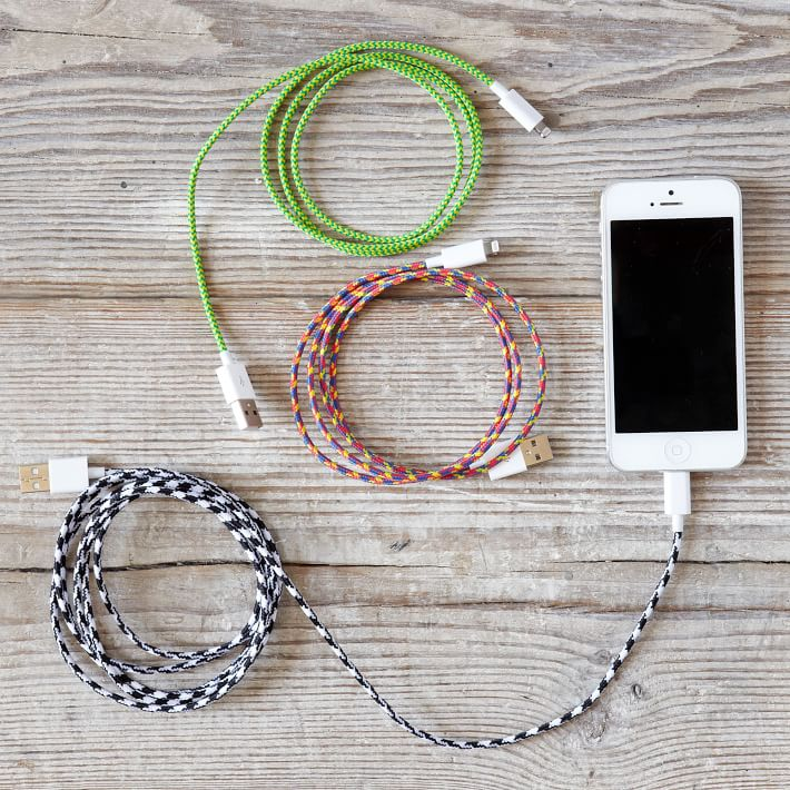 Fabric wrapped cord charger