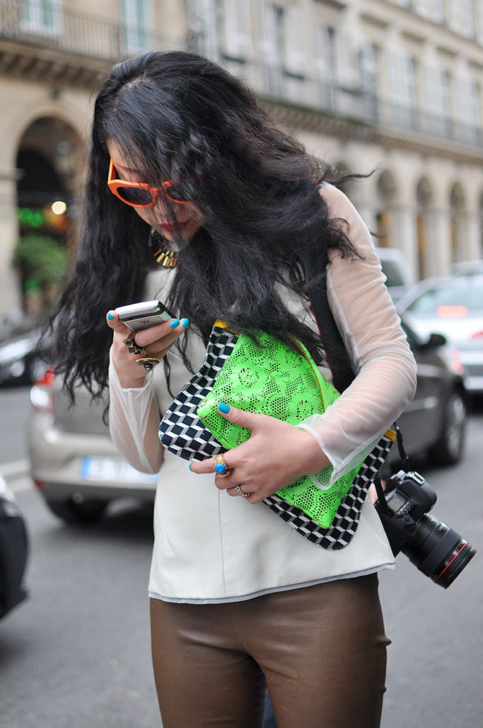 green neon bag